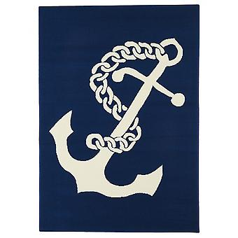 In - and outdoor carpet balcony / living room Navy anchor blue white 160 x 230 cm