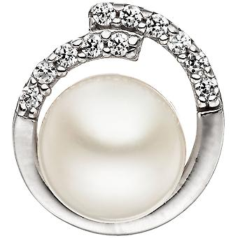 Charm 925 sterling silver with 1 Freshwater Pearl and cubic zirconia beads pendant