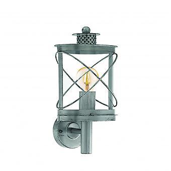 Eglo Hilburn Traditional Round Antique Silver Lantern Wall Light