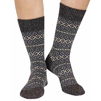 Figsbury women's Fairisle wool boot sock in charcoal | By Scott-Nichol