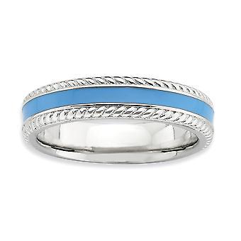4,5 mm Sterlingsilber rhodiniert stapelbar Ausdrücke blau poliert emailliert Ring - Ring-Größe: 5 bis 10