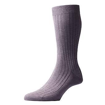 Pantherella Danvers Rib Cotton Lisle Socks - Mid Grey Mix