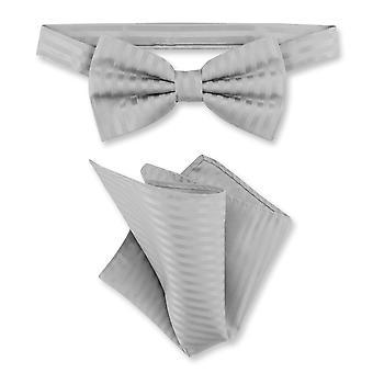 Vesuvio Napoli BowTie Striped Vertical Stripes Mens Bow Tie & Handkerchief