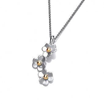 Daisy de Cavendish francés plata gota colgante con cadena de plata de 16-18