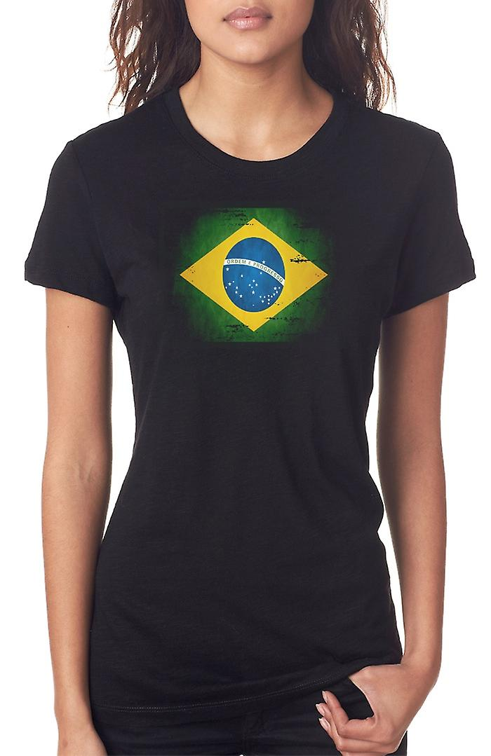 Brazilian Brazil Grunge Flag Ladies T Shirt