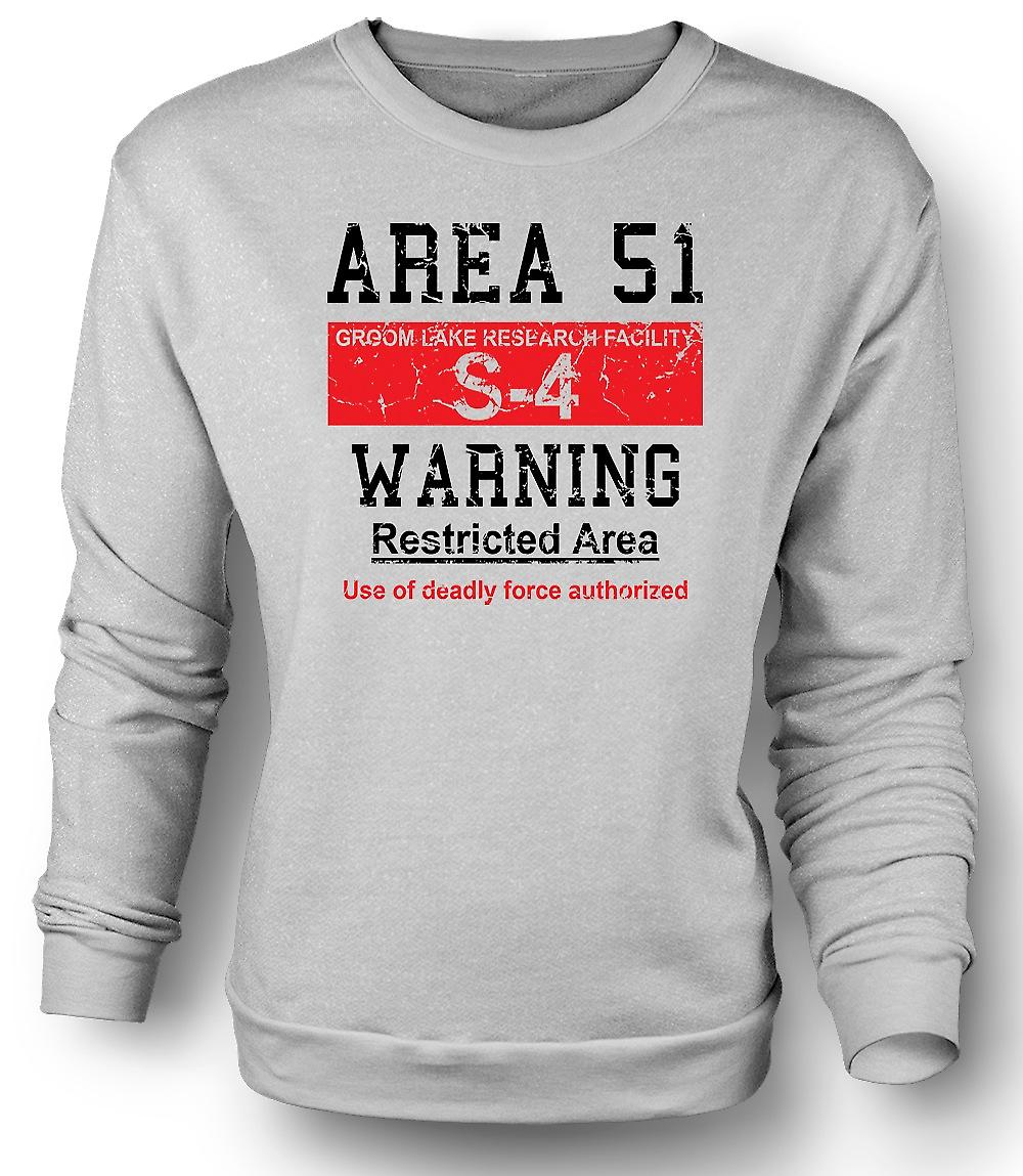 Mens Sweatshirt Area 51 Sign - UFO - Conspiracy