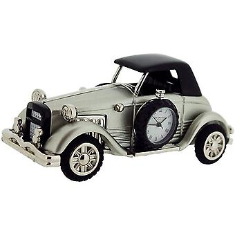 Miniature Old Fashioned Car Novelty Desktop Collectors Clock, Silvertone 9861