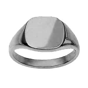 Platinum 950 13x13mm solid plain cushion Signet Ring Size W