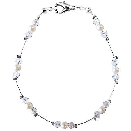White Pearls Clear Crystals Wire Bracelet Swarovski Bracelet