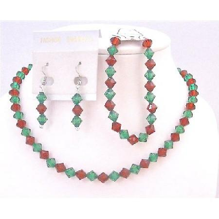 Christmas Jewelry Set Chinese Crystals Green/Red Necklace Earrings