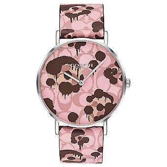 Coach | Womens Perry | Pink Leather Strap Floral Design | 14503246 Watch