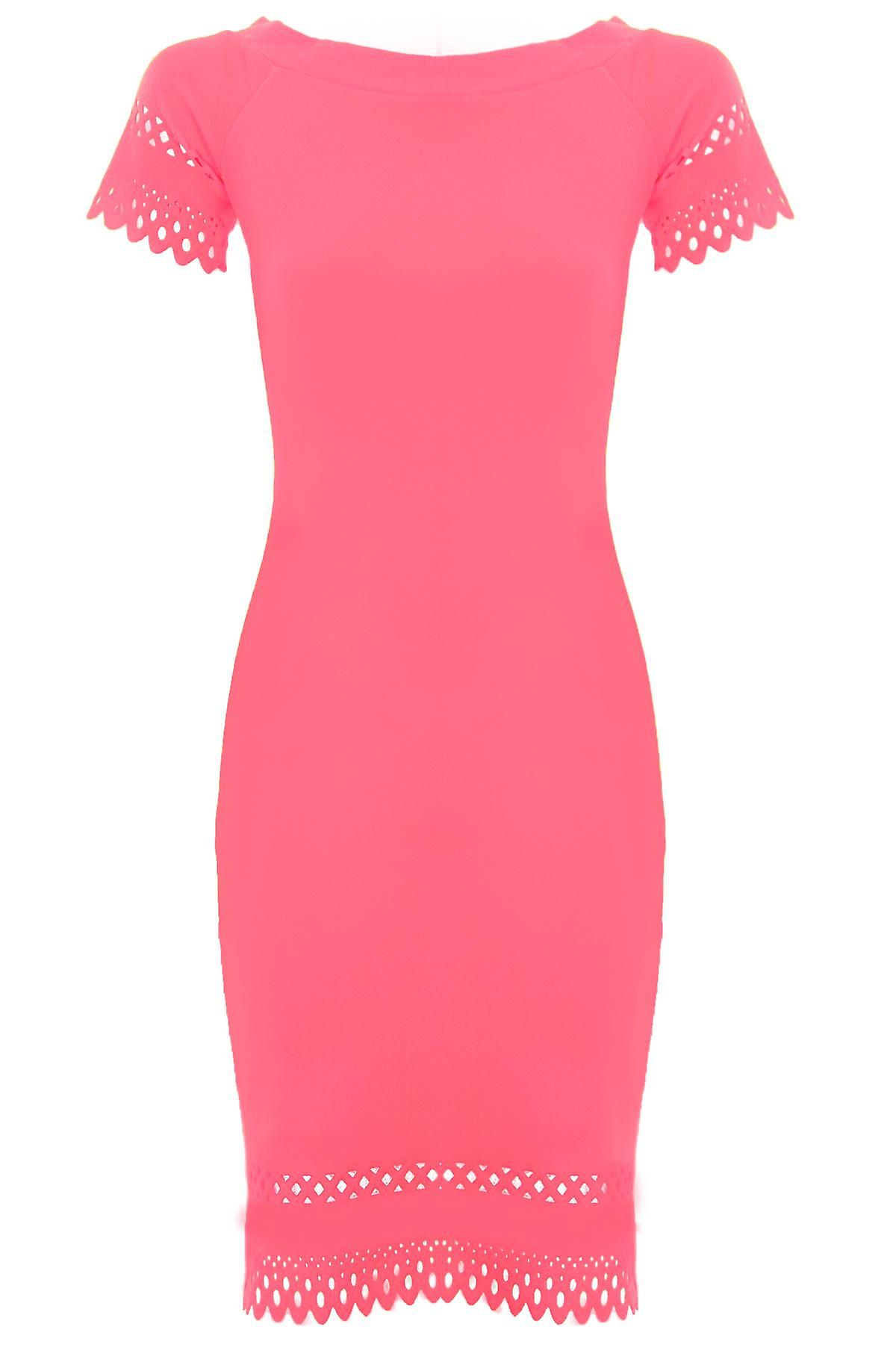 Ladies Off Shoulder Crepe Cut Out Scallop Hem Knee Length Neon Bodycon Dress