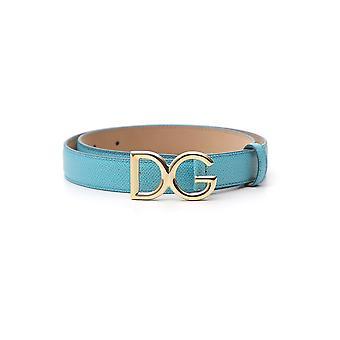 Dolce E Gabbana Light Blue Leather Belt