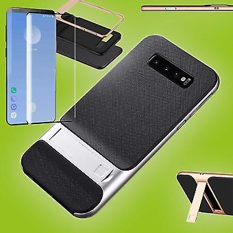 Standing Hybrid Case Tasche Silber für Samsung Galaxy S10 Plus G975F 6.4 Zoll + 4D H9 Hart Glas