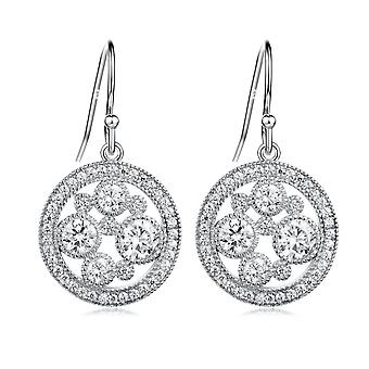 925 Sterling Silver Filigree Aaaaa Cz Dangle Drop Earrings