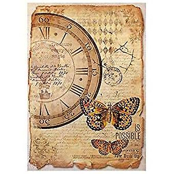 Stamperia Rice Paper A4 Mix Media Clock & Butterfly (DFSA4241)