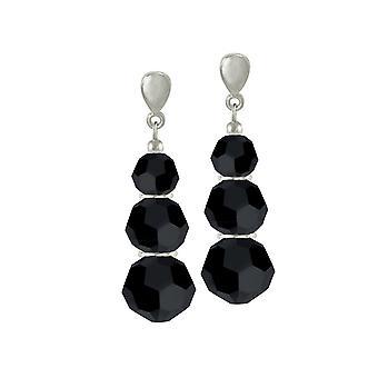 Éternelle Collection Trinity Jet noir argent en cristal autrichien ton Clip de Drop boucles d'oreilles