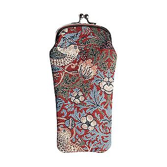 William morris - strawberry thief red glasses pouch by signare tapestry / gpch-strd