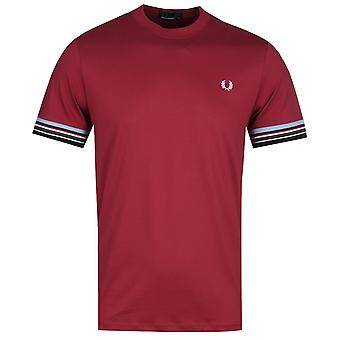 Fred Perry streep manchet Bordeaux T-shirt