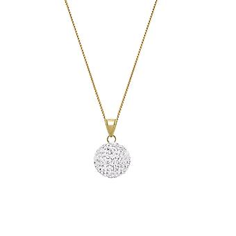Eternal Collection Shamballa Glitter Ball Gold Tone Pendant Necklace