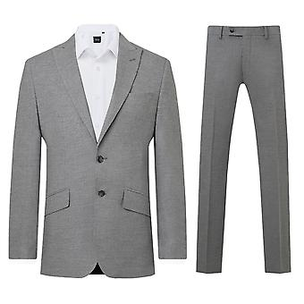 Dobell Mens Light Grey 2 Piece Suit Slim Fit Peak Lapel