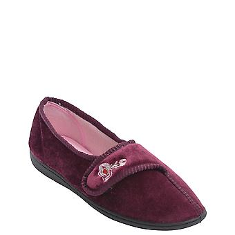 Ladies Womens Washable Velour Touch Fasten Slipper