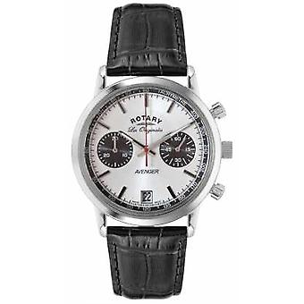 Rotary Mens Avenger Black Leather Strap Chrono GS90130/06 Watch
