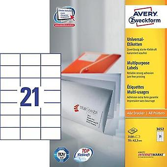 Avery-Zweckform 3652 Labels (A4) 70 x 42.3 mm Paper White 2100 pc(s) Permanent All-purpose labels Inkjet, Laser, Copier