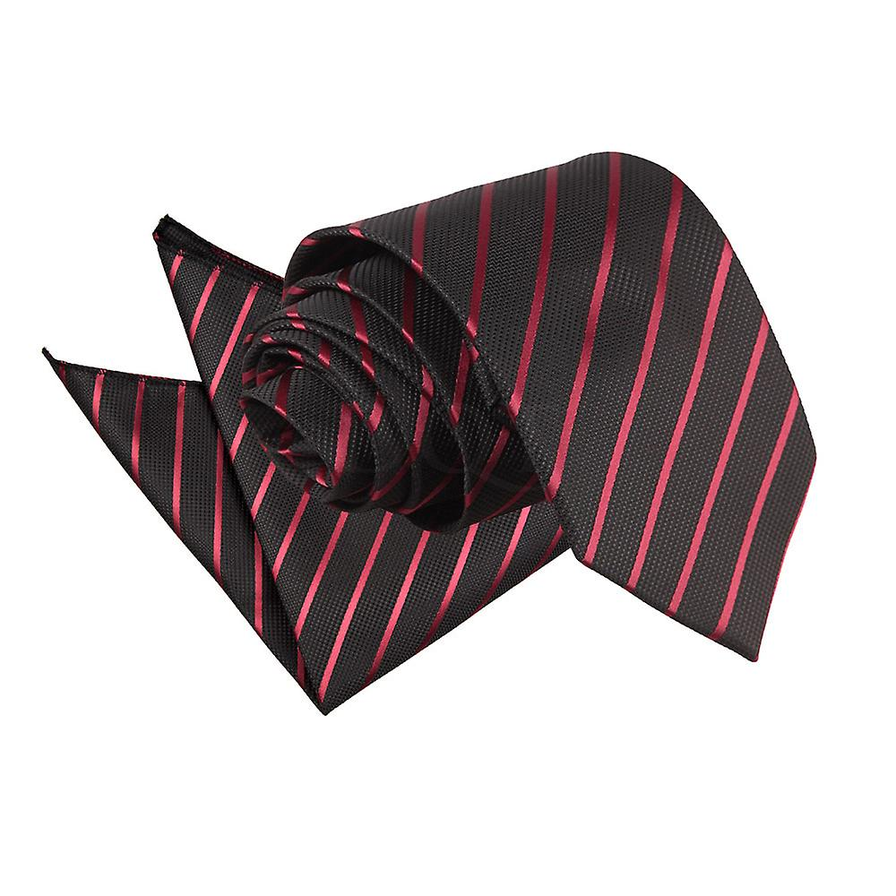 Single Stripe Black & Burgundy Tie 2 pc. Set