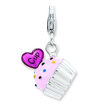 Sterling Silver Enameled 3-d Cupcake and Heart With Lobster Clasp Charm - 3.5 Grams
