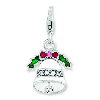 Sterling Silver Enameled Wreath Bell With Lobster Clasp Charm - 1.7 Grams
