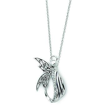 Sterling Silver Antiqued CZ Angel Necklace - 18 Inch
