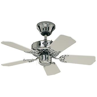 "Ceiling fan Classic ROYAL Chrome polished with pull cord 75 cm to 132 cm / 30"" to 52"""