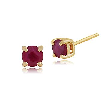 Gemondo Ruby Round Stud Earrings In 9ct Yellow Gold 3.50mm Claw Set
