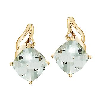14K Yellow Gold Green Amethyst and Diamond Earrings