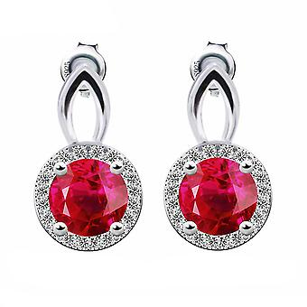 925 Sterling Silver 2.5 Carats Round Cut Red Created Ruby Earrings
