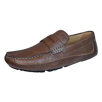Geox U Melbourne A Mens Leather Moccasins / Shoes - Brown