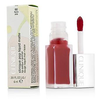 Clinique Pop flüssige Lippenfarbe Matte + Primer - # 02 Flamme Pop - 6ml/0,2 oz