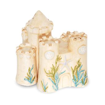 Fun at the Beach Building A Sandcastle Ceramic Salt and Pepper Shaker Set