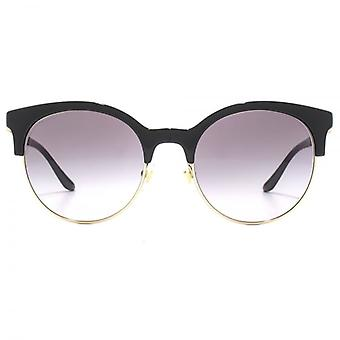 Versace Round Clubmaster Style Sunglasses In Black Pale Gold