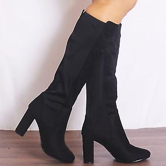 Shoe Closet Black Knee High Boots - Ladies KD7 Black Faux Suede Knee High Heel Boots