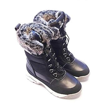 Hummel Black Snow Boots With Faux Fur Top And Pully Laces