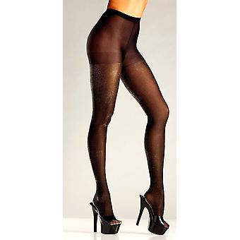Be Wicked  BW688 Opaque black and gold lurex pantyhose