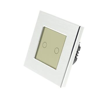 I LumoS Silver Brushed Aluminium 2 Gang 1 Way Remote & Dimmer Touch LED Light Switch Gold Insert