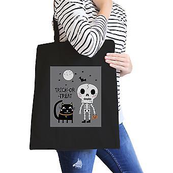 Skeleton Black Cat Black Canvas Bag Funny Halloween Canvas Tote