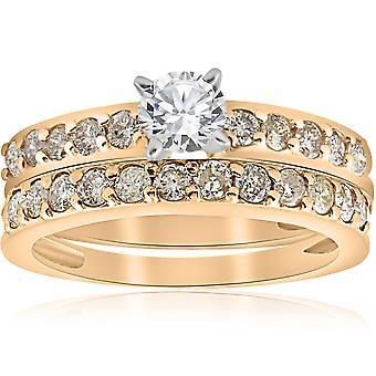 14 ك قيراط 1 الذهب الأصفر الماس خاتم الخطوبة مطابقة خاتم مجموعة
