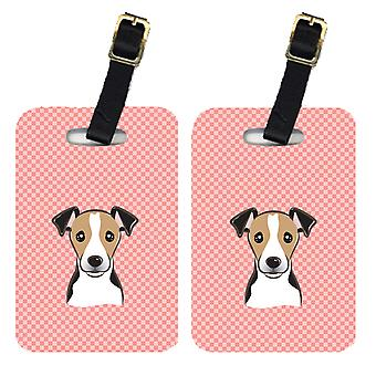 Pair of Checkerboard Pink Jack Russell Terrier Luggage Tags