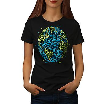 Earth Spaceship Space Women BlackT-shirt | Wellcoda
