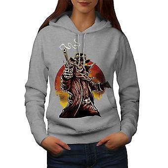 Skeleton Western Skull Women GreyHoodie | Wellcoda