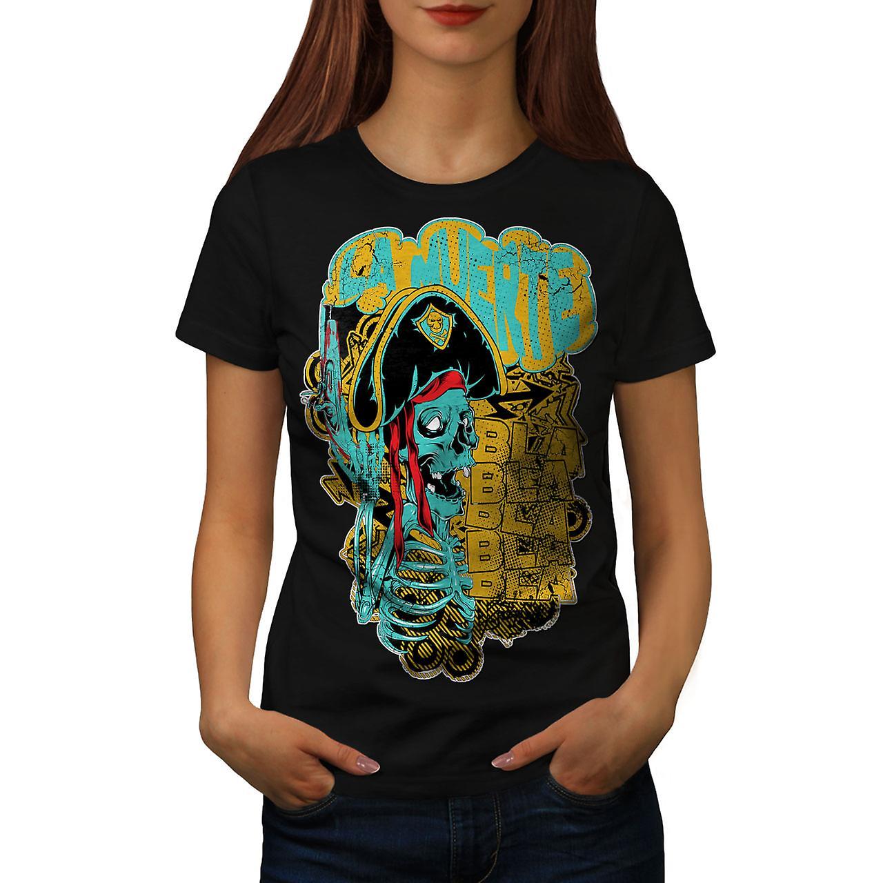 La Muerte Festival Skull Women Black T-shirt | Wellcoda